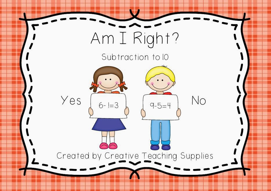 http://www.teacherspayteachers.com/Product/Am-I-Right-Subtraction-to-10-1053083