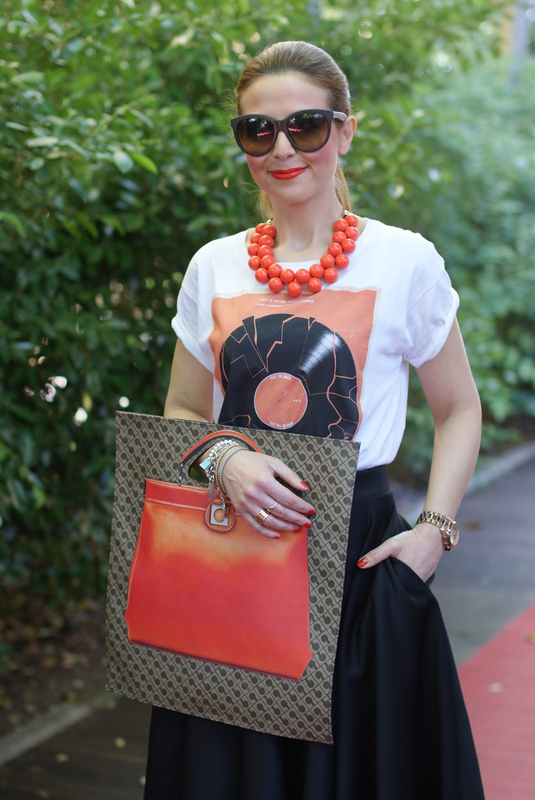 Gherardini Piattina Anniversary 130 bag, orange Gherardini bag, Fashion and Cookies fashion blog, fashion blogger style