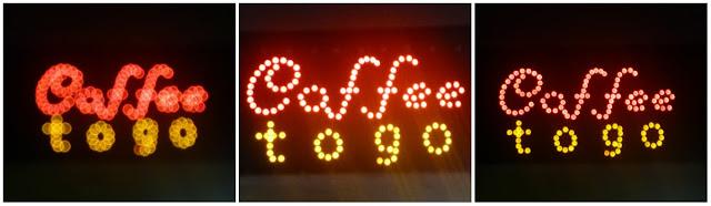 """Leuchtschrift """"Caffee togo"""": unscharf, hell überstrahlt, scharf"""