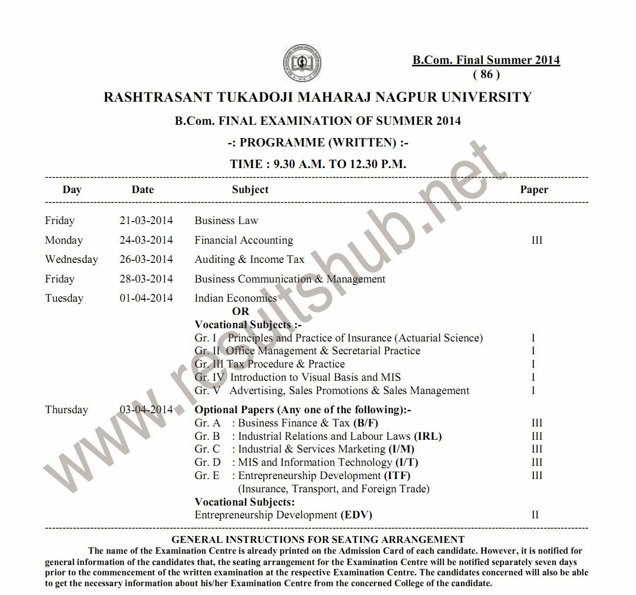 B.Com. Final Year Summer 2014 Timetable RTM nagpur university