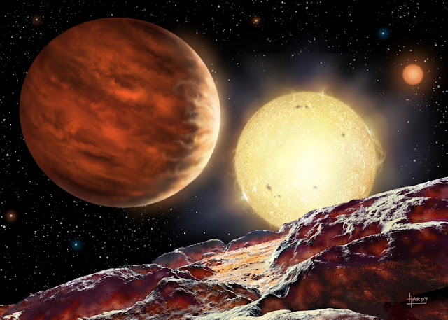 An artist's impression of Tom's planet, WASP-142b, orbiting its star, WASP-142. The planet is depicted as seen from a hypothetical moon. A second, dimmer star is seen in the background. Being 1000 light years away, the planet is too distant to obtain a direct image. Credit: David A. Hardy.Â