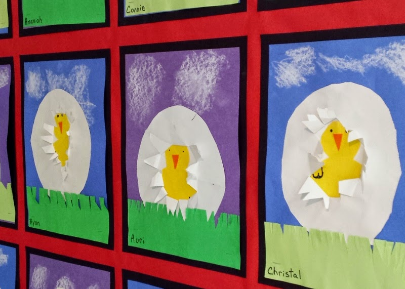 1st Grade Cut And Glued Construction Paper To Show Spring Chicks Hatching From Their Eggs