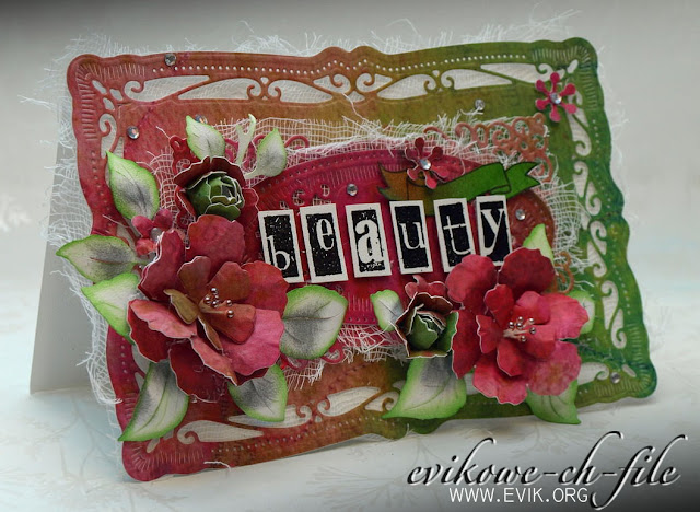 SPELLBINDERS - NESTABILITIES - MAJESTIC ELEMENTS, Sizzix Tim Holtz, Bigz Die, Tattered Florals, Beauty, by Evik, Ewa Jarlińska