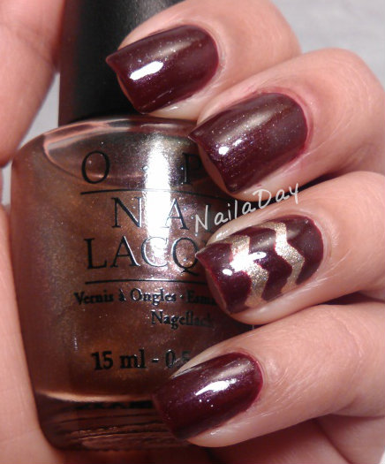 NailaDay: Borghese Sonata Berry with Gold ZigZag Accent