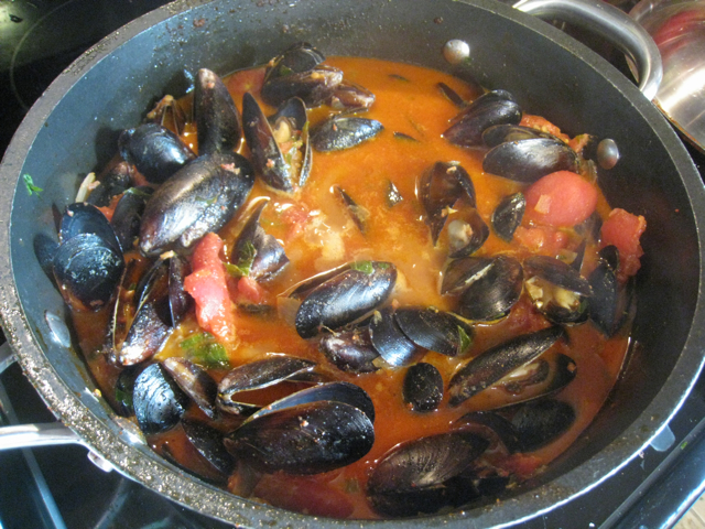 Chorizo and Mussels in Tomato Broth