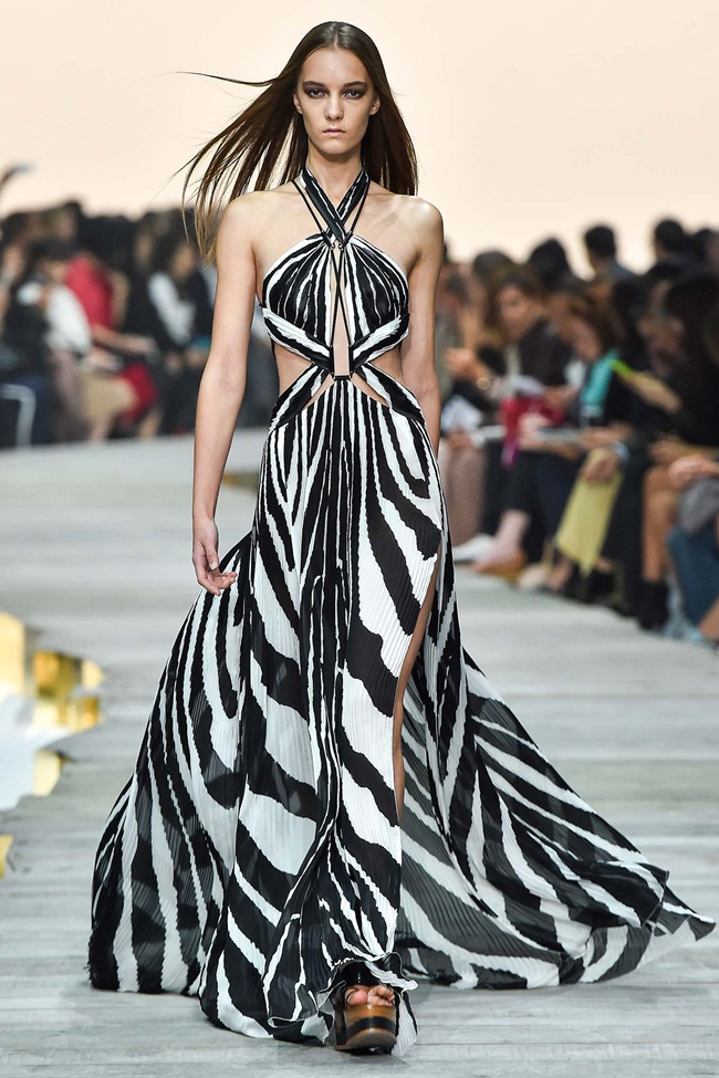 Roberto Cavalli Spring 2015 Zebra Printed Silk Dress on Runway
