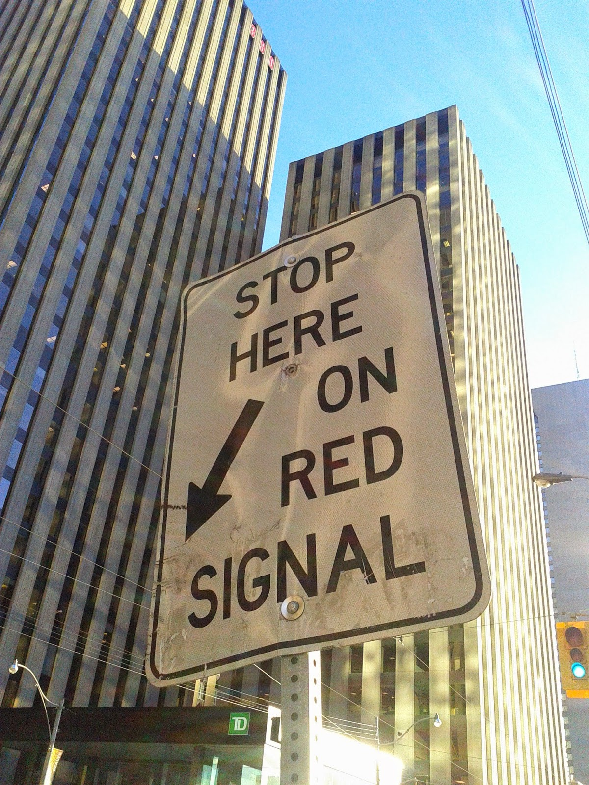 Stock photo: Stop here on red signal sign