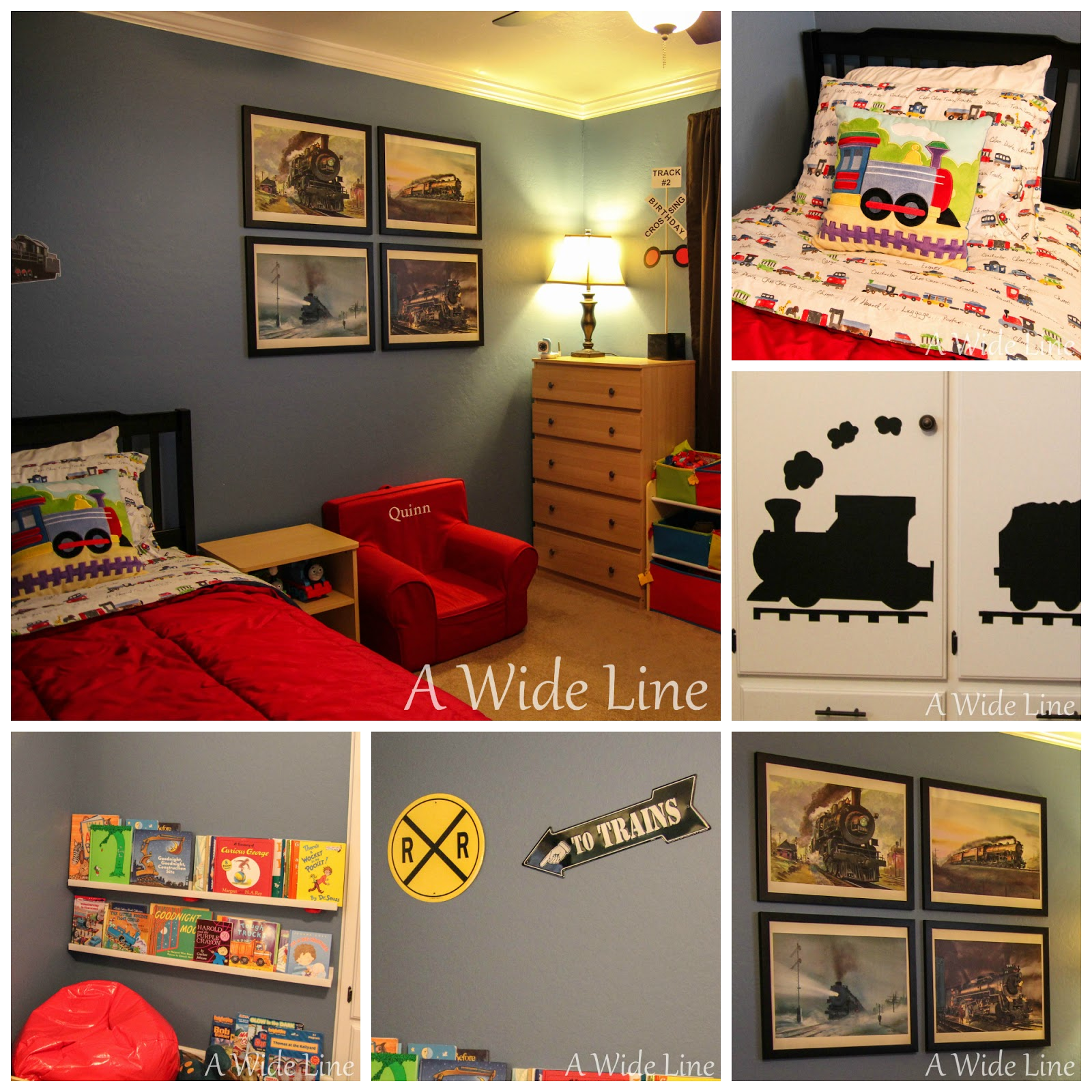 A wide line from nursery to big boy bedroom trains trains and more trains for Toddler train bedroom
