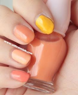 orange gradation nails