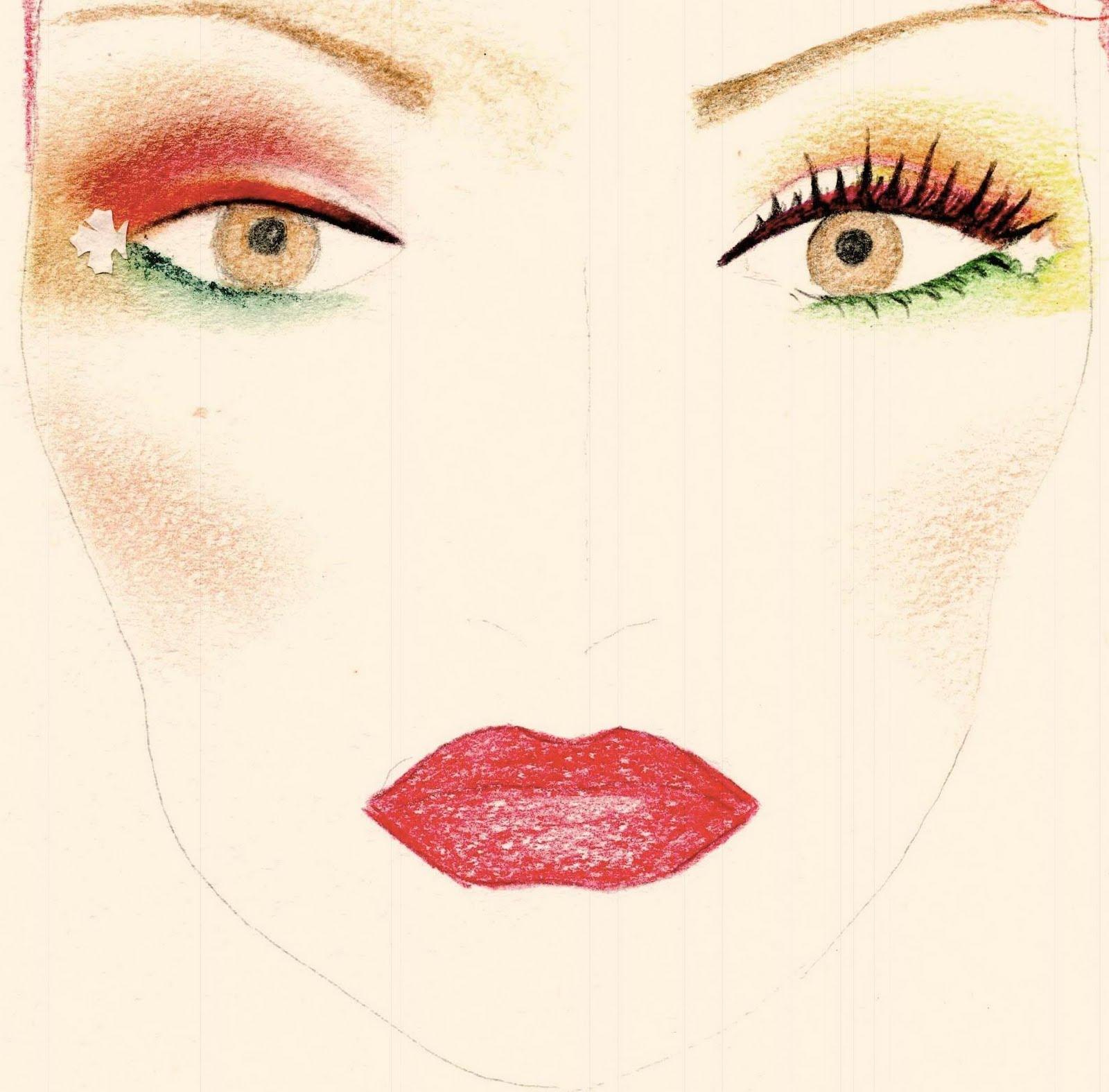Как нарисовать на бумаге макияж