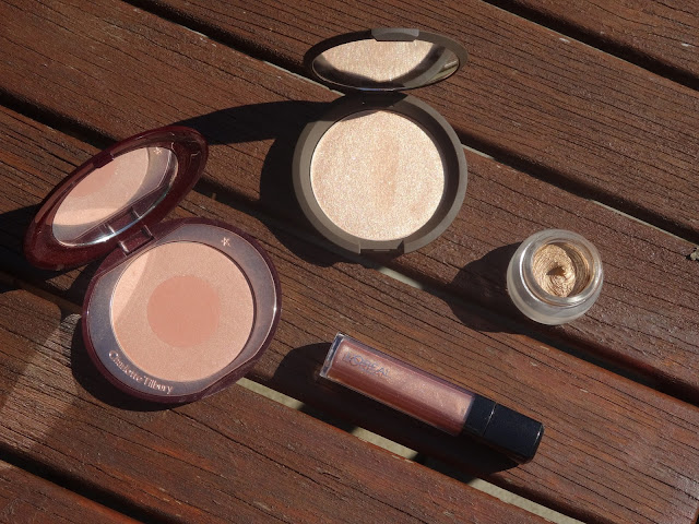 Becca Cosmetics Jaclyn Hill Champagne Pop, Charlotte Tilbury Chic to Cheek First Love, Charlotte Tilbury Eyes to Mesmerise Bette, L'Oreal Infallible Mega Gloss