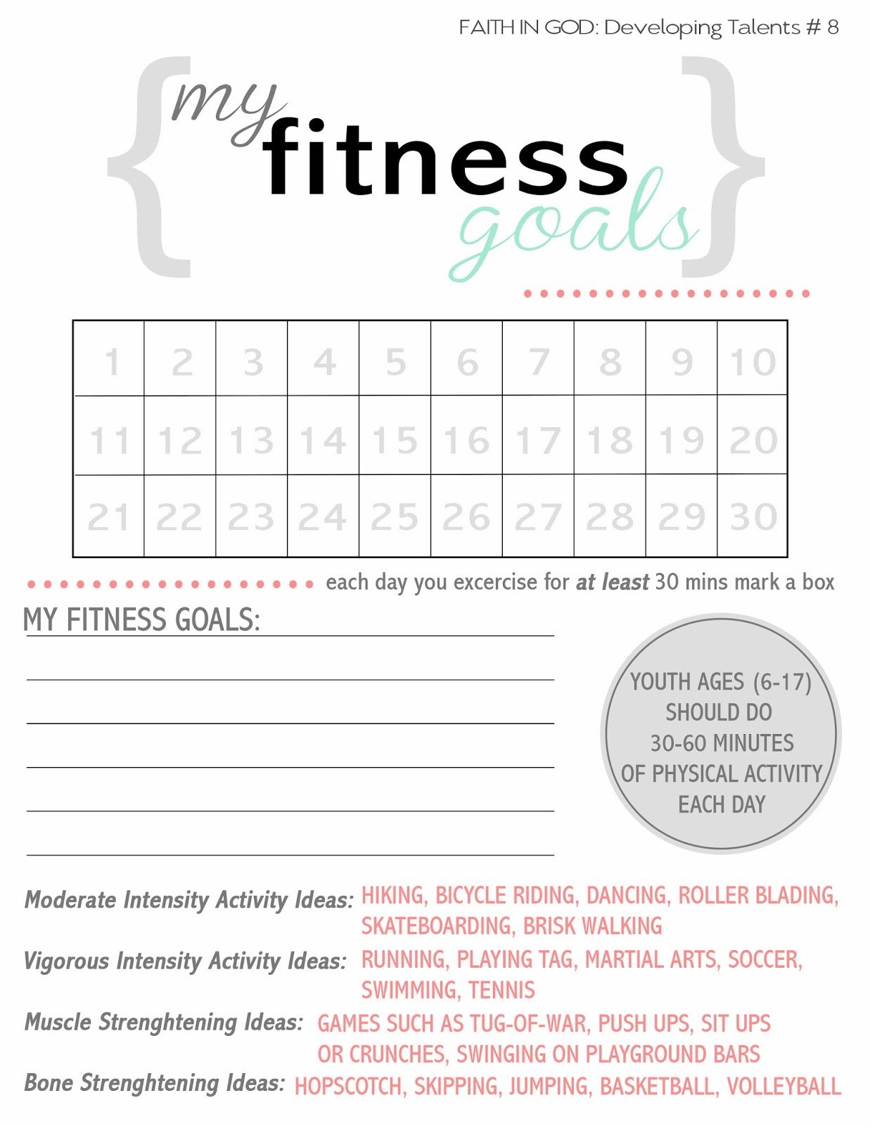 Worksheets Fitness Goals Worksheet the hill family activity days fitness fitness
