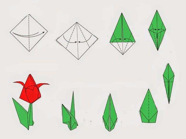 Сложить тюльпан из бумаги своими руками 71