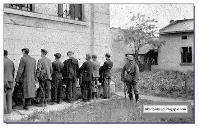 Preparing execution shot against the wall Einsatzgruppen Nazi exterminators