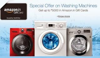 Washing Machines Upto 20% off + Extra Upto Rs. 5000 Amazon.in Gift Cards – Amazon