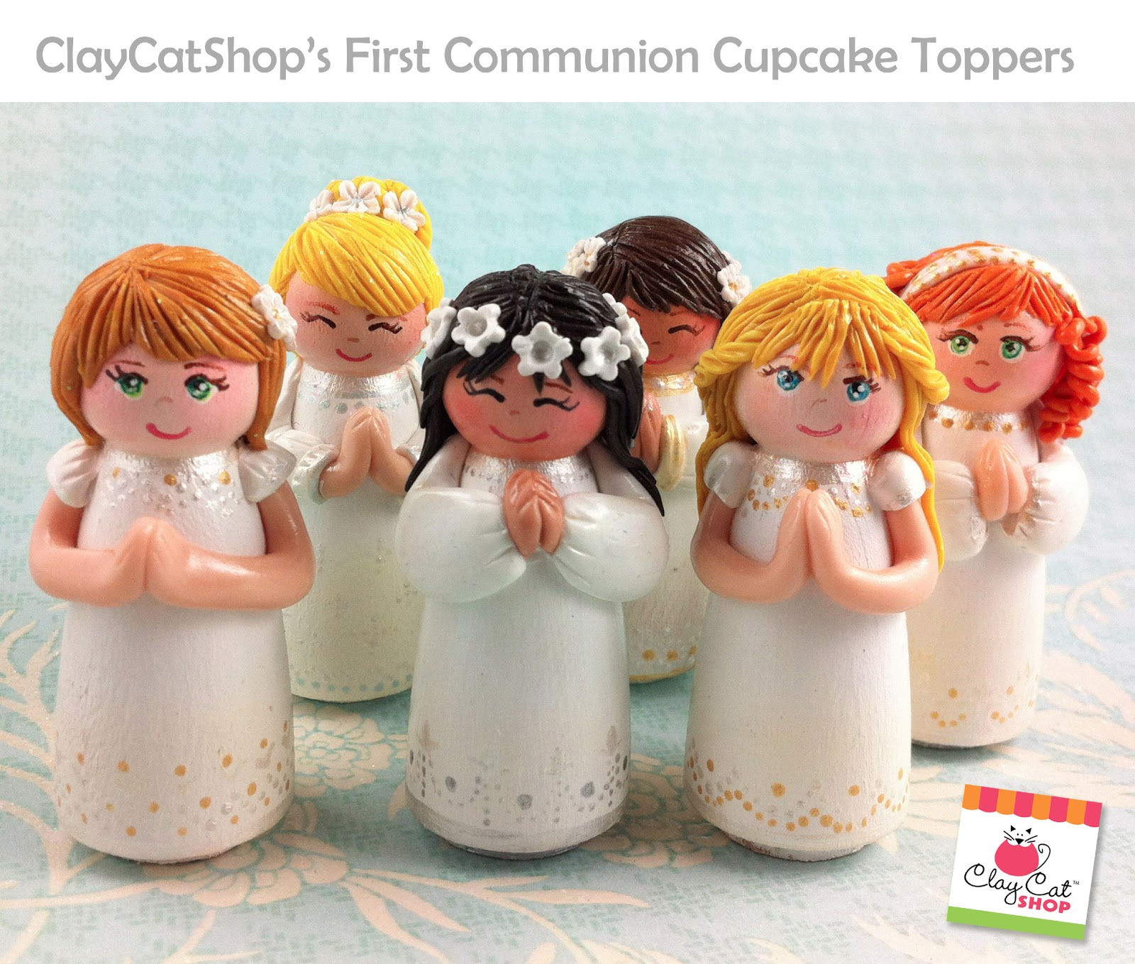 First Communion Cake Toppers ClayCatShop's Blog: Ca...