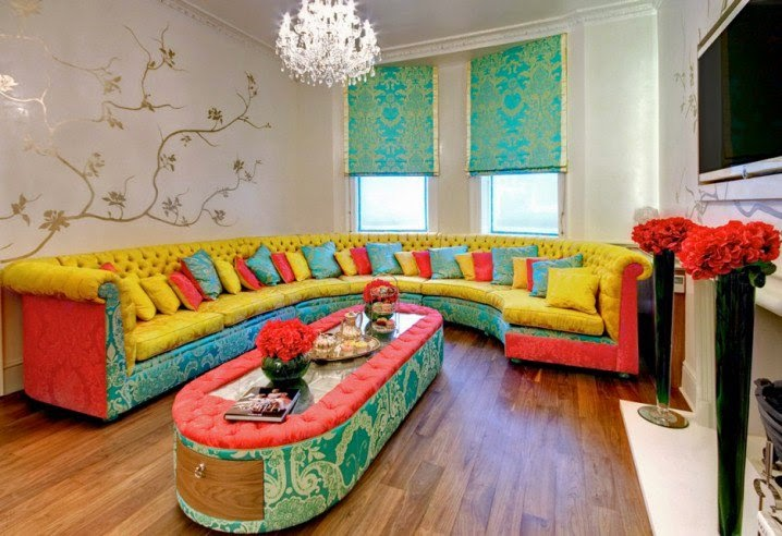 ديكور مجالس عصرية ملونة