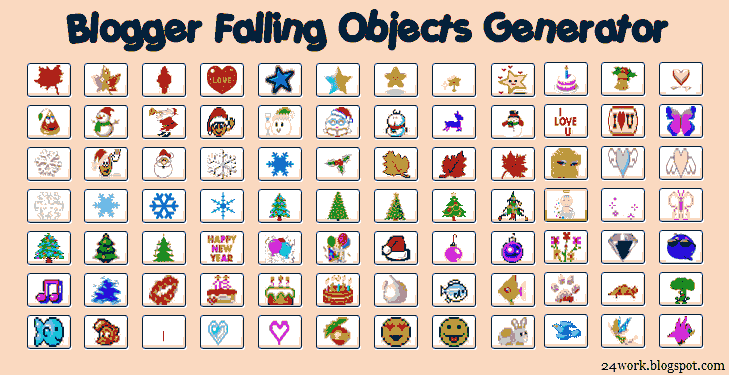 Falling Objects / Falling Text / Marquee Scrolling Text Generator for Blogger