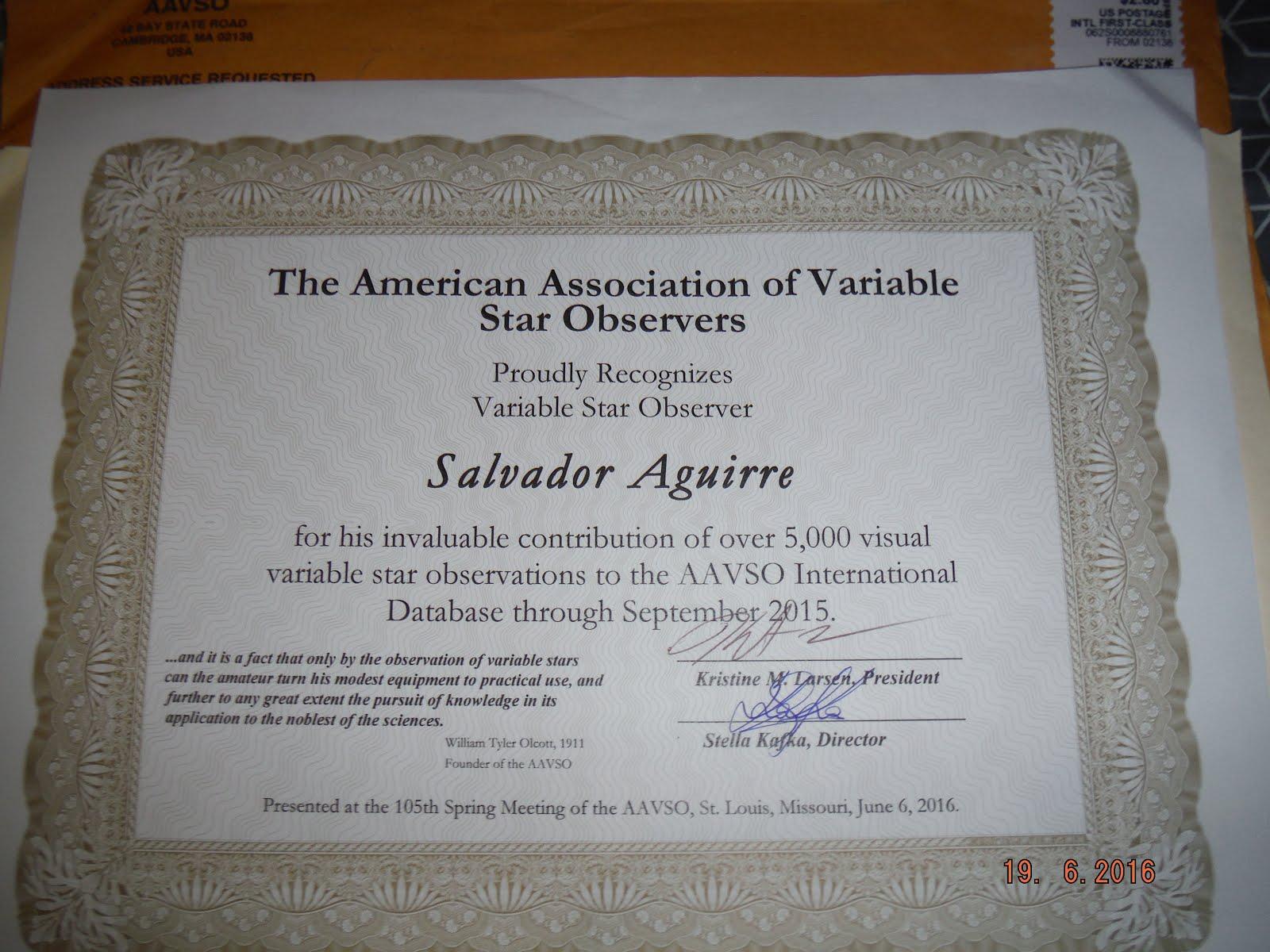 Reconocimiento de AAVSO por 5 mil Fotometrias de Estrellas Variables.