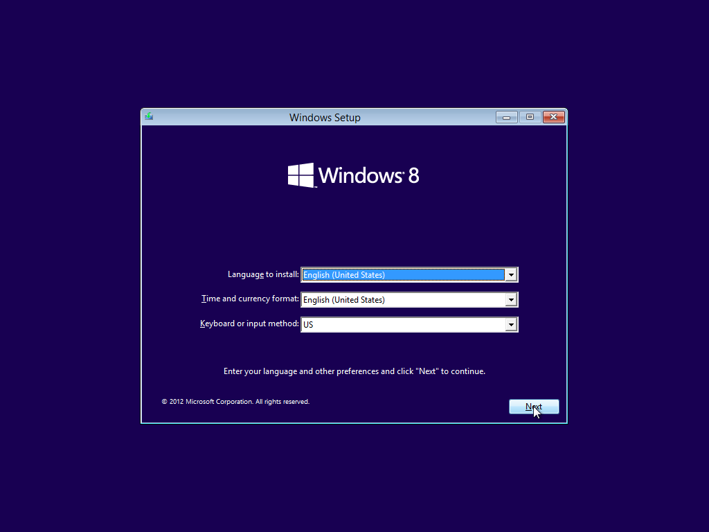 Windows 8 Pro VL  Installation