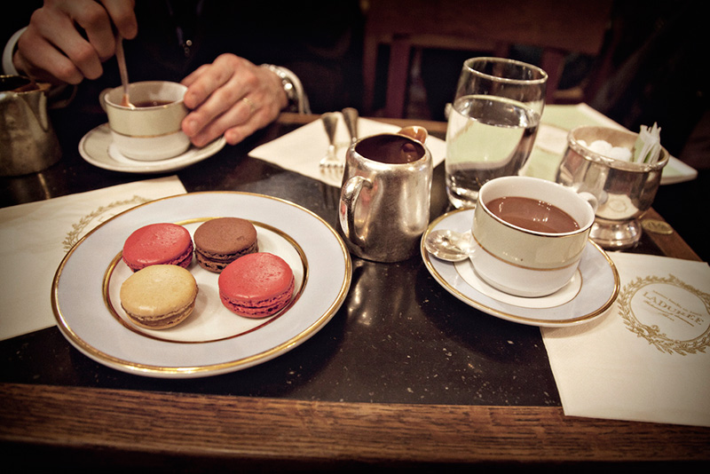 A selection of tea and maccarons at Laduree on Rue Royale in Paris