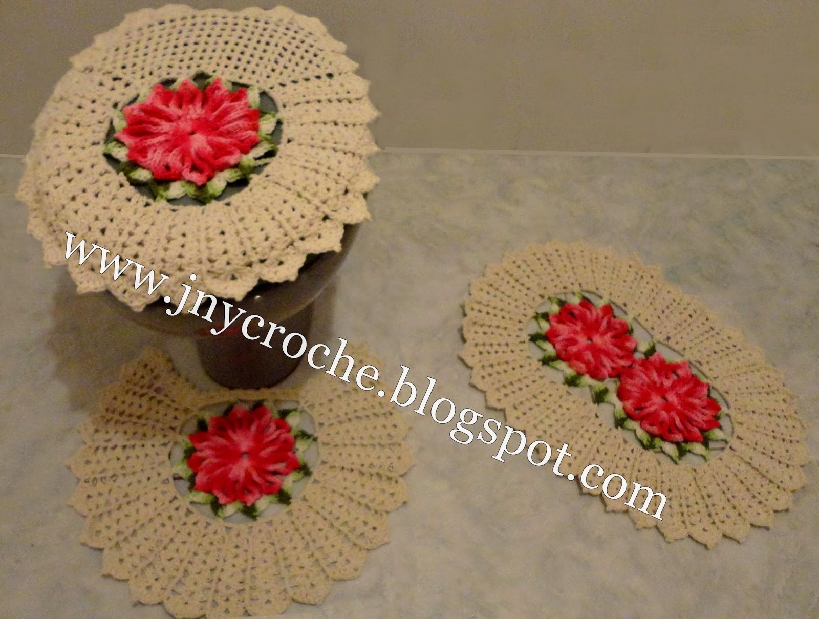 JNY Crochê: Jogo de banheiro de crochê com Flores #AA2128 1600 1209