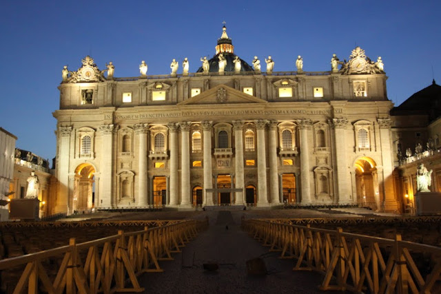 St Peter's Basilica was taken at night from St Peter's Square in Vatican City, Rome, Italy
