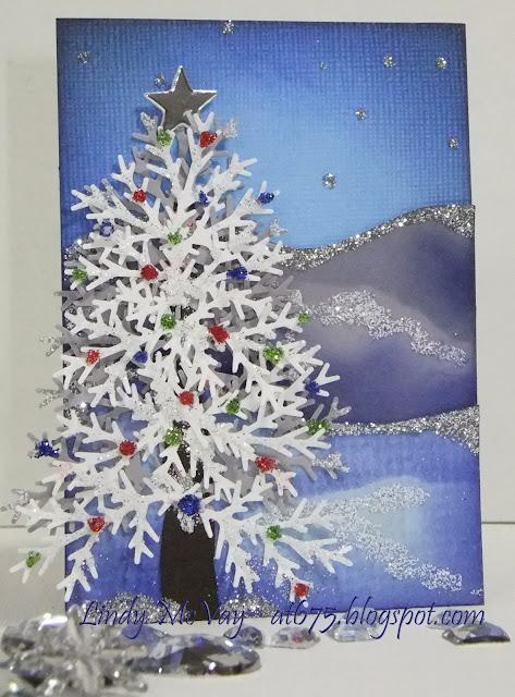 Bazzill cardstock, ATC, artist trading card, Christmas, snow, glitter, Martha Stewart punch, Christmas tree, Oh Christmas Tree, Recollections glitter from Michaels, Tsukineko Indigo VersaColor Ink, Martha Stewart Branch Punch