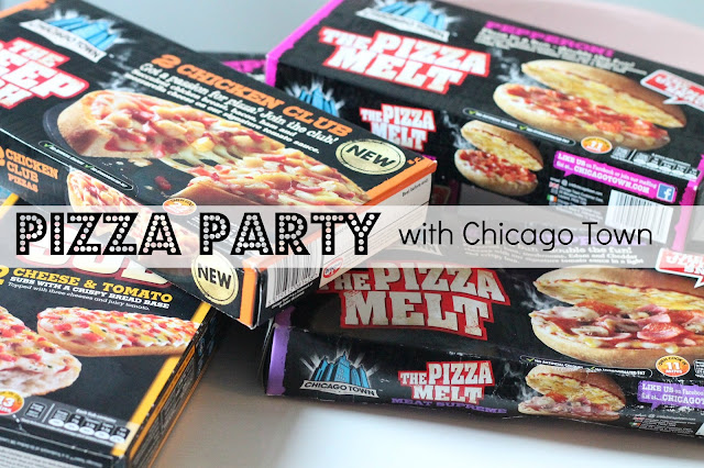 Chicago town pizza boxes scattered on table with text over saying pizza party with chicago town