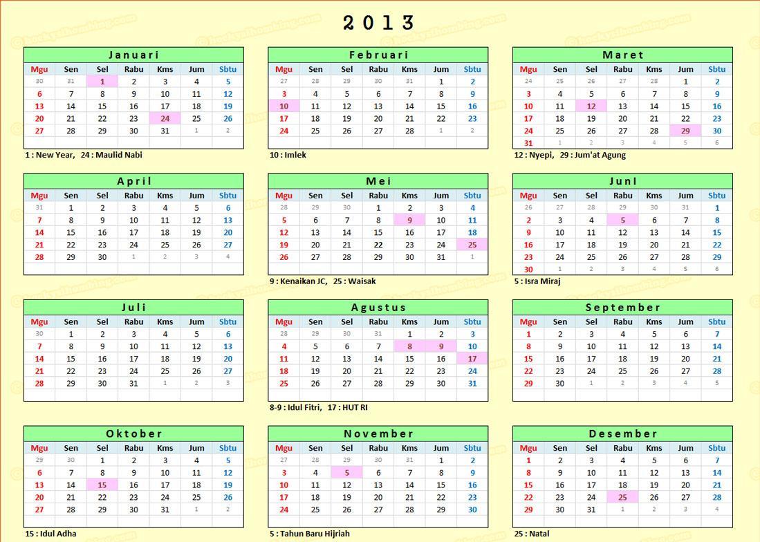 Info pengumuman cuti bersama dan hari libur nasional Indonesia 2013 - www.terbaik-indonesia.com
