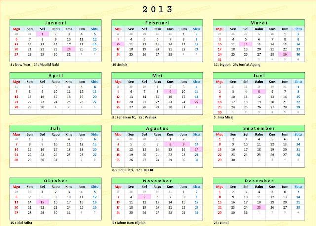 Info pengumuman cuti bersama dan hari libur nasional Indonesia 2013
