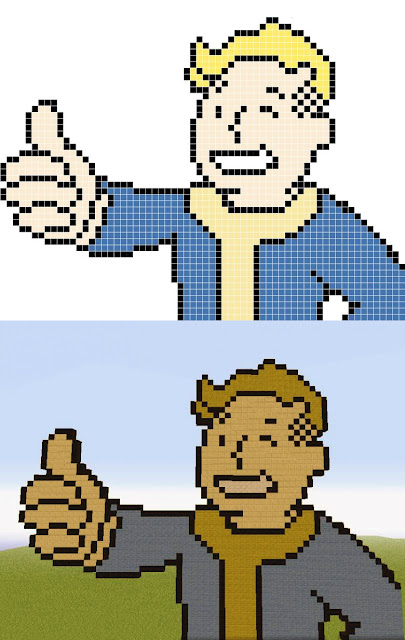 Minecraft pixel art templates of Fallout character