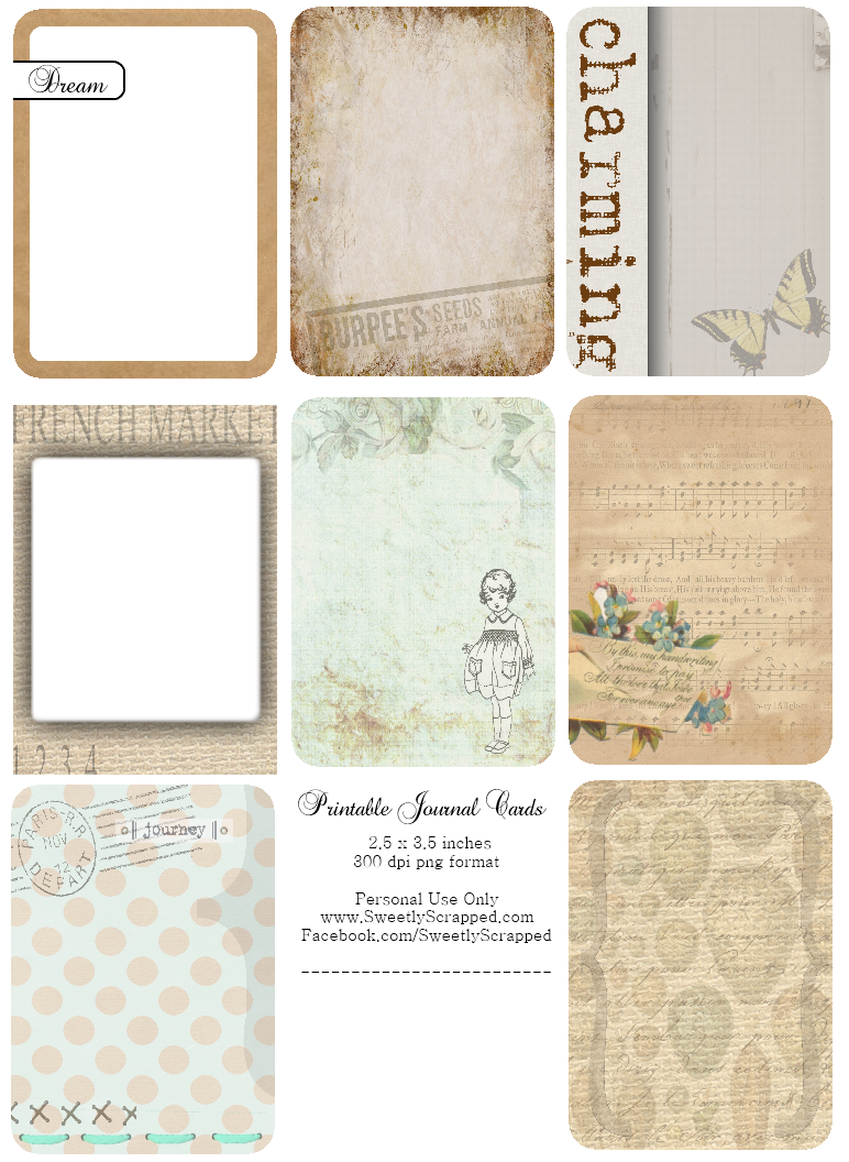 Sweetly Scrapped: Freebie Journaling Cards and Transparency Overlays