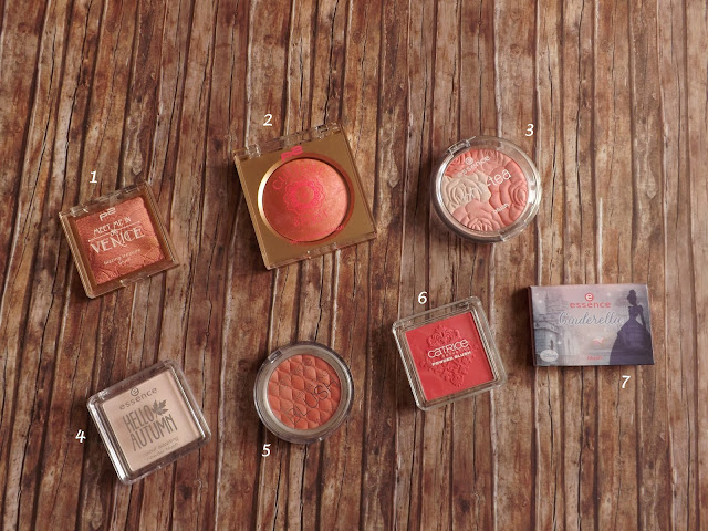 1 - p2 Meet me in Venice blazing treasure blush in 010 Destiny, 2 - p2 Culture & Spirit blend of beauty blush in 010 soulfulness, 3 - essence brit-tea blush in 01 tea-riffic Garden Party, 4 - essence hello autumn in 01 Beauti-fall Red, 5 - Catrice Illuminating Blush in 020 Coral Me Maybe, 6 - Catrice Rock-o-co Powder Blush in C02 Madame De Pinkadour, 7 - essence Cinderella blush in 01 so this is love