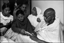 Gandhi breaking Fast just before his assassination.