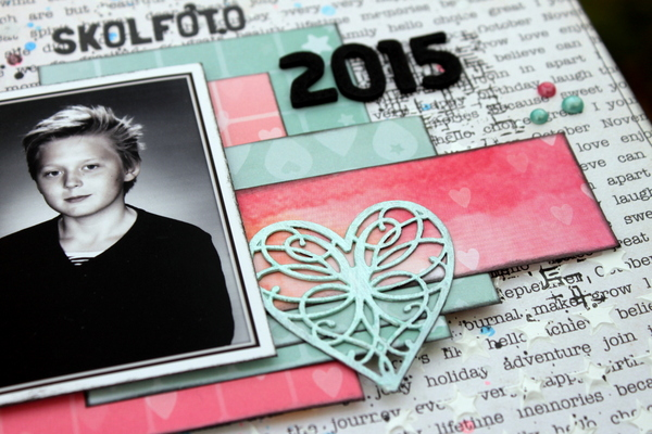 Skolfoto 2015 Scrapbook Page by Ulrika Wandler using BoBunny Calendar Girl Collection