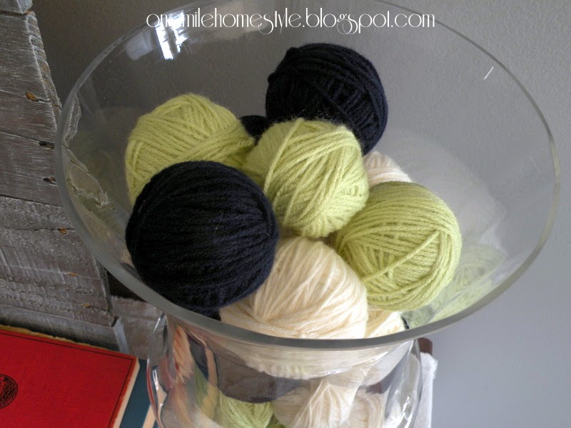 Navy, cream and light green yarn ball decor