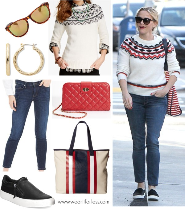 Celebrity street style, #reesewitherspoon, look for less, what to wear for a casual winter outfit