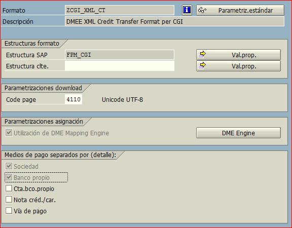code page del formato SEPA CT