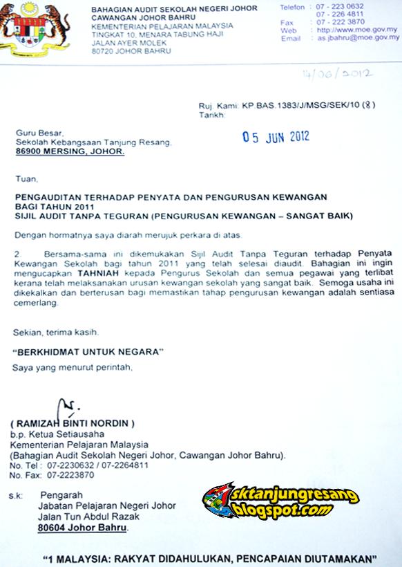 contoh surat format rasmi kerajaan hontoh