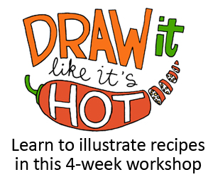 "To warm up a little for my online art class ""Draw It Like It's Hot"", I've been doing these art journal entries of what I ate... I enjoy it so much - I might be hooked!  The online class just started this Monday, so it's not too late to join! Come on in - it's just $69 for 4 weeks full of foodie-art!  Click here to learn more and to sign up"