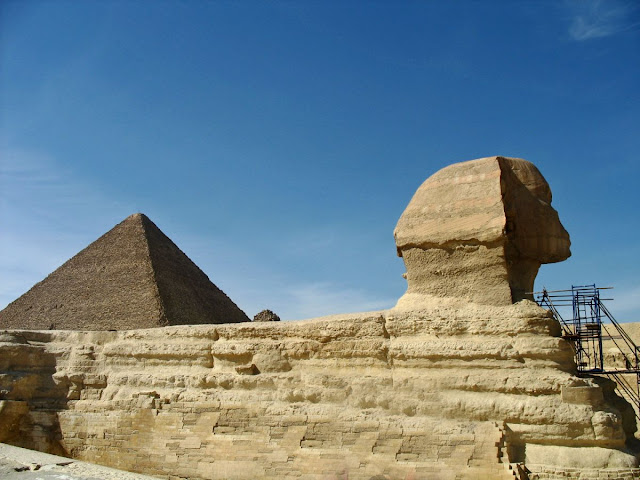 Sphinx at Giza with Great Pyramid