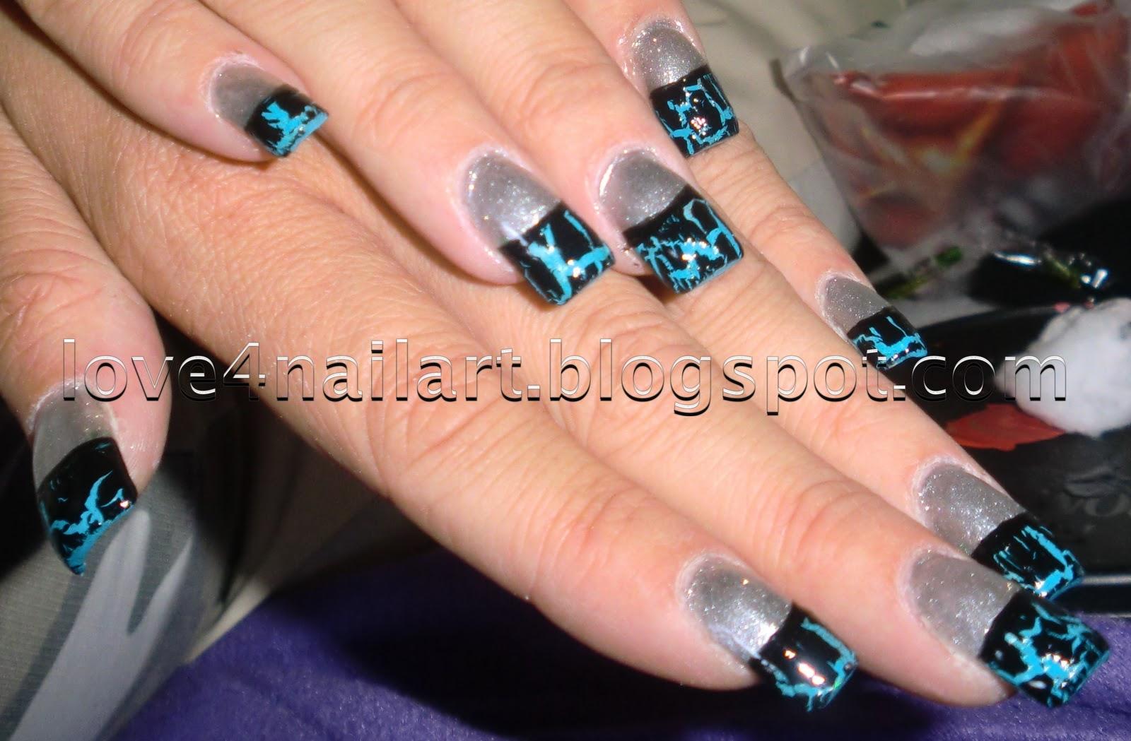 Фото нарощенных ногтей черный френч с рисунком