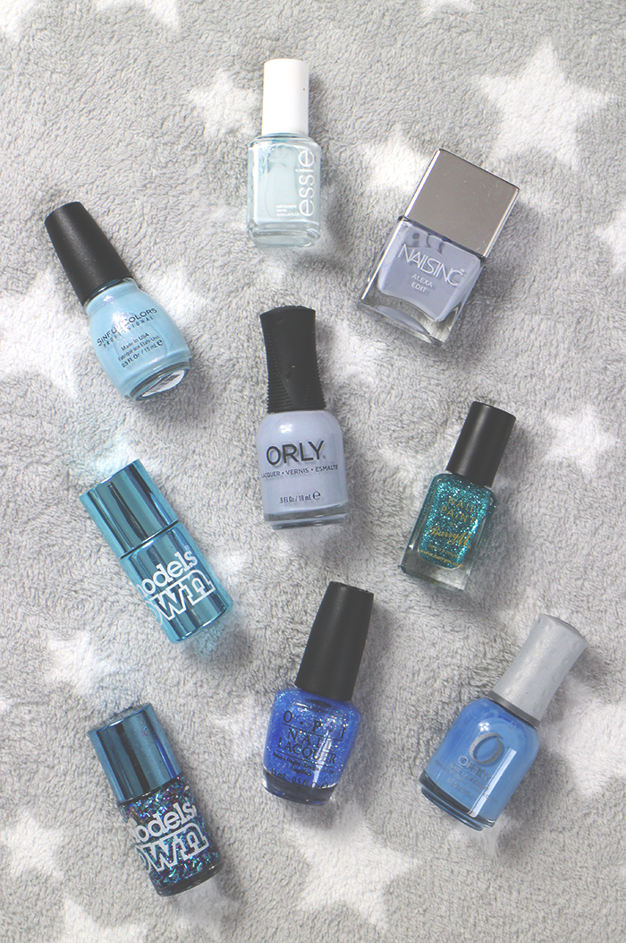 Models Own Chrome Blue, Barry M Aqua Glitter, OPI Last Friday Night, Essie Find Me An Oasis, Sinful Colors Cinderella, Orly Harmonious Mess, Nails Inc. Winter Lilac, Orly Snowcone