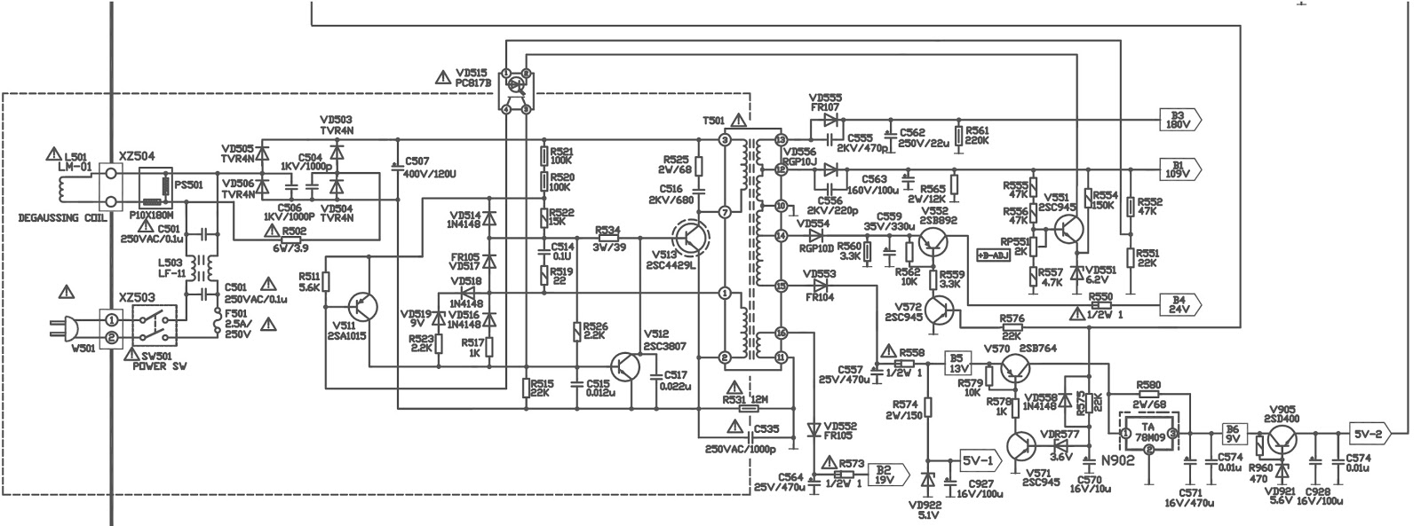 akira 21fzs1 tv smps schematic diagram [circuit diagram Television Schematics power schematic [smps] {click on image to magnify}