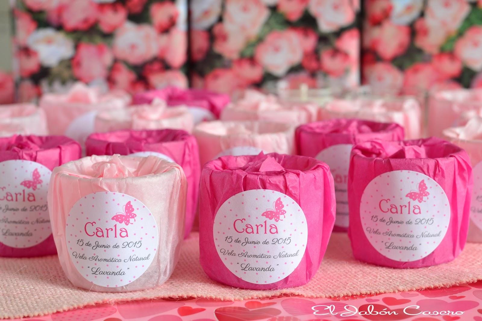 detalles de bautizo velas decoradas en rosa y fucsia