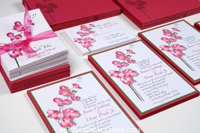Wedding Blossoms Orchid Wedding Invitations