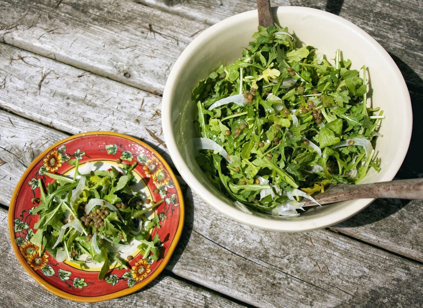 Arugula, Fennel & Green Lentil Salad- simplelivingeating.com
