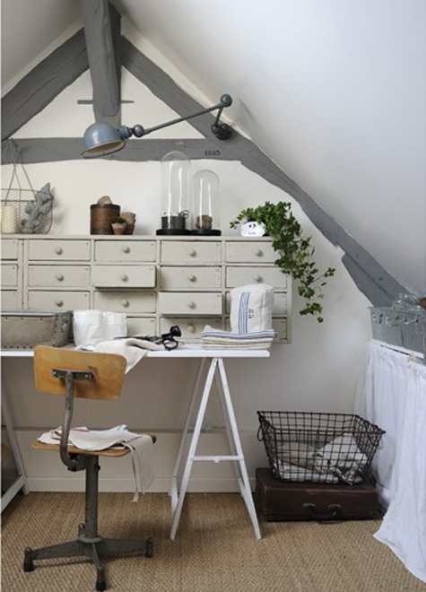 Industrial chic french country cottage for Decoration bureau professionnel design