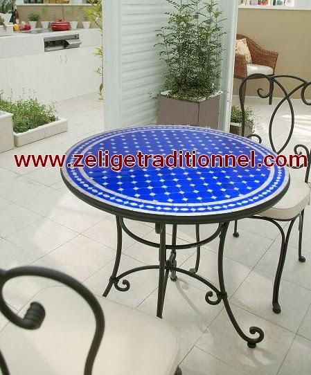 deco table ronde en zellige couleur beige et bleu avec un bonne prix. Black Bedroom Furniture Sets. Home Design Ideas